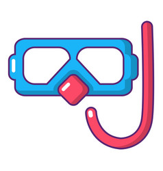 Diving mask and snorkel icon cartoon style vector