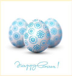 Easter egg with a blue pattern on vector