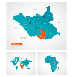 Editable template map south sudan vector