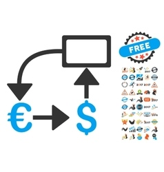Euro dollar flow chart icon with 2017 year bonus vector