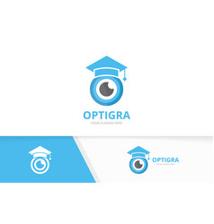 Eye and graduate hat logo combination vector