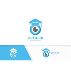 Eye and graduate hat logo combination vector