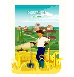 Farmer In The Countryside Background Poster vector