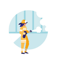 firefighter with extinguisher avatar character vector image
