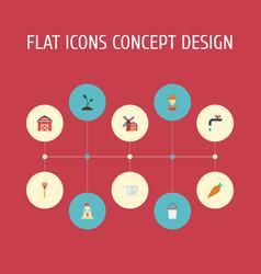 Flat icons landscape veggie storehouse vector