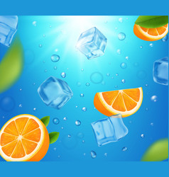 Fresh oranges fruits in water with ice cubes vector