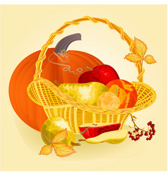 fruits in a basket healthy nutrition thanksgiving vector image