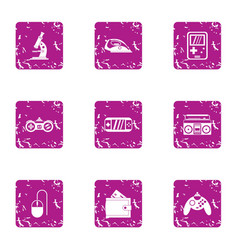 Game technology icons set grunge style vector