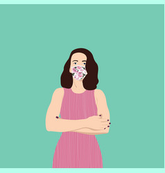 Girl in a medical mask woman wearing face mask vector