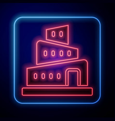 Glowing neon babel tower bible story icon isolated vector
