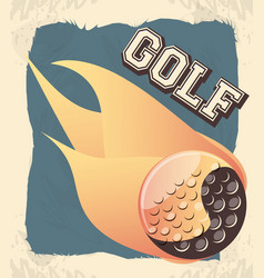Golf club label with ball and flame vector