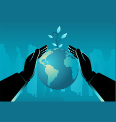 hand covering planet earth vector image