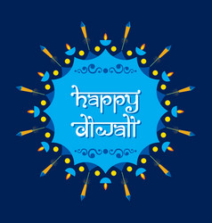Happy diwali poster with crackers vector