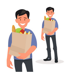 happy man holding a grocery bag in his hands vector image