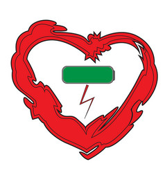 Heart and charged battery icon vector