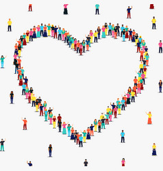 heart shape frame diverse people group vector image