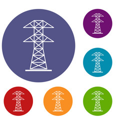 High voltage tower icons set vector