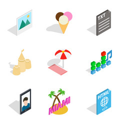 Holiday photograph icons set isometric style vector