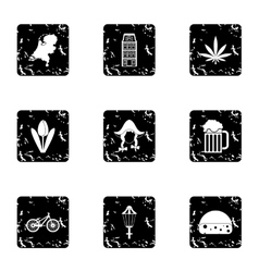 Holland icons set grunge style vector