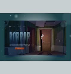 horror cartoon landing creepy hand scratching door vector image
