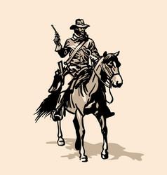 horseman soldier southern us civil war vector image