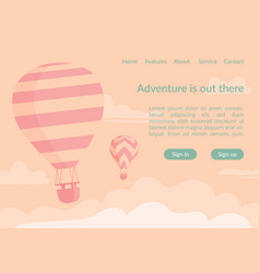 Hot air balloons website landing page vector