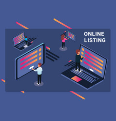 isometric artwork of people surfing the internet vector image