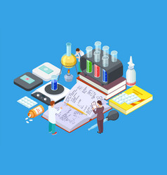 Isometric science lab medical research vector