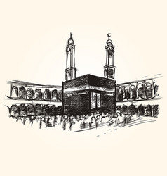 kaaba holy symbolic building in islam vector image