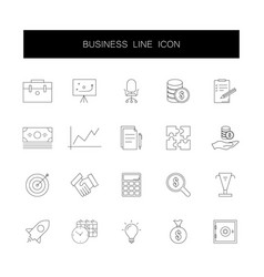 line icons set business pack vector image