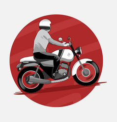 man riding classic motorcycle vector image