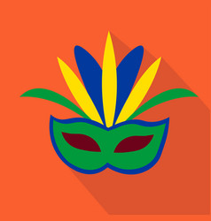 Mask cartoon flat icon brazil ceremony vector
