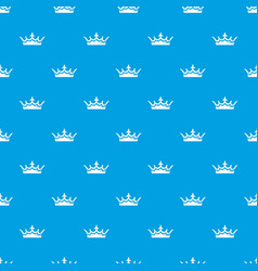 Medieval crown pattern seamless blue vector