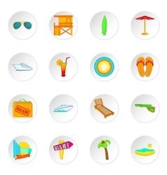 Miami icons set cartoon style vector