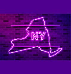New york us state glowing purple neon lamp sign vector