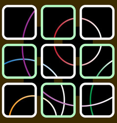 nine square contours with colored circles vector image