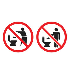 no toilet littering sign do not throw paper vector image