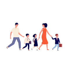parents and kids students go to school large vector image