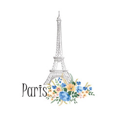 paris background floral paris sign with flowers vector image