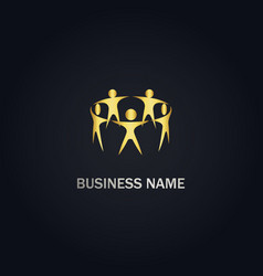 people group holding hand gold logo vector image