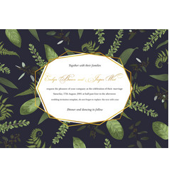 polygonal gold frame with leaves of a forest fern vector image