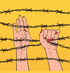 Pop art female hands holding a barbed wire vector