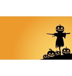 Scarecrow and pumpkins halloween backgrounds vector