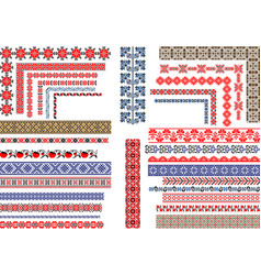 Seamless ethnic and vintage embroidery patterns vector