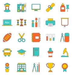 set flat line icons school equipment and tools vector image