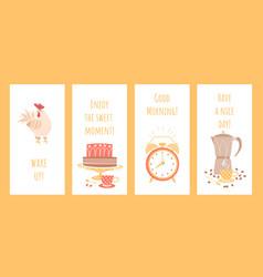 set good morning greeting card mockups vector image