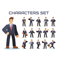 set of businessman characters vector image