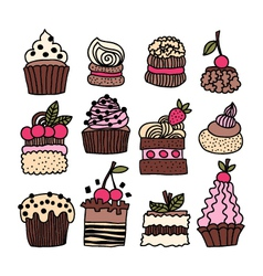 set of hand drawn cakes desserts vector image