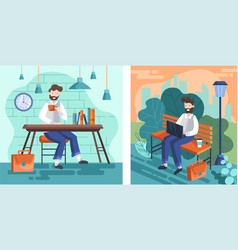 Set two designs businessmen working with one vector