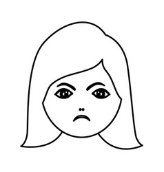 Silhouette cartoon human female furious face vector